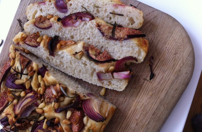 Sticky fig and red onion focaccia