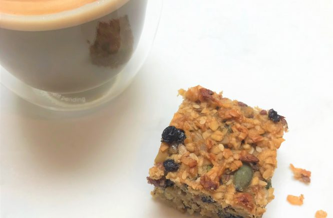 Tahini, banana and honey flapjack - a fruity flapjack, delicious with a cup of coffee or tea